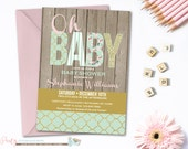 Shabby Chic Baby Shower Invitation, Mint and Gold Baby Shower Inivtation, Rustic Baby Shower Invitation, Mint Gold and Pink Baby Shower