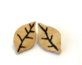 Rounded Wooden Leaf Earrings