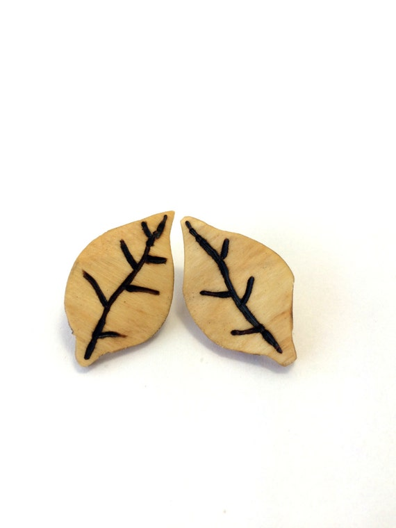Rounded Wooden Leaf Earrings from Feath & Kee