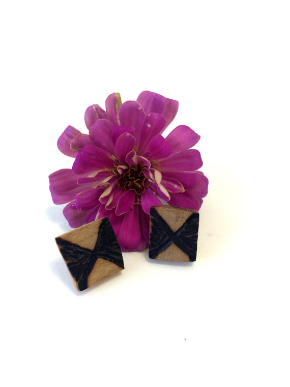 "Wooden ""Bow Tie"" Earrings from Feath & Kee"