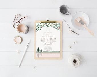 Mountain Wedding Invitation Suite DEPOSIT, DIY, Rustic, Woodland, Forest, Country, Printable, Custom, Watercolor, Lake (Wedding Design #54)