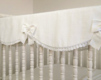 Linen crib bedding, rail guard, rail cover. bumperless crib bedding