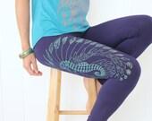 Sea Horse Yoga Leggings - Leafy sea dragon and Seashells leggings. Boho geometric leggings. Mint/gold print on 4 colors. Bohemian leggings.