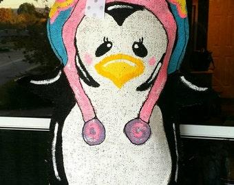 Burlap penguin door hanger