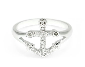 Anchor Ring with simulated Diamonds // Anchor ring // Silver Ring // Rings for her // Anchor // Gifts for her // Jewelry for her // Greek