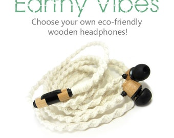 Organic Wood Earbuds   Natural Eco-Friendly Tangle Free Headphones   Undyed Yarn Custom Wrapped Wooden Skullcandy, House of Marley Earphones