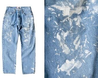 SALE vintage painted levis men's 90s levis 550 relaxed painted destroyed denim jeans light wash 30w 31l