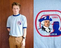 Vintage UNWORN 1981 Boy Scout of America Ringer Tee Shirt National Scout Jamboree Virginia Jamboree 50/50 Poly-Cotton Mens Medium Size