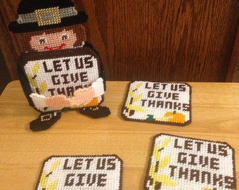 Pilgrim Coaster Set, Plastic Canvas Coasters, Pilgrim Decor, Let Us Give Thanks, Thanksgiving Decor, Handmade Coasters, Needlepoint Item