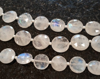 Rainbow moonstone faceted coins.   Approx. 10-10.25mm   (1 bead)