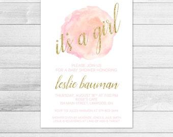 Coral Watercolor Baby Shower Invitation, Girl Digital Printable Invite, Gold, Glitter, Peach