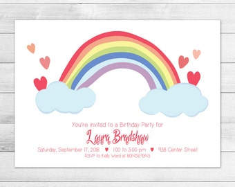 Rainbow Birthday Party Invitation, Printable Digital Invite File, Girl, White