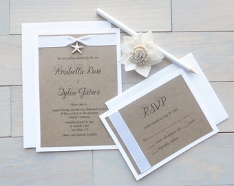 Beach Wedding Invitation, Starfish Invitations, Beach Wedding
