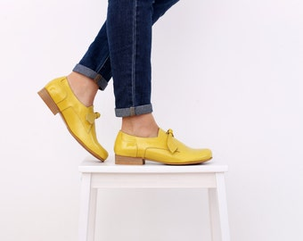 Leather Shoes yellow women's flats handmade ADIKILAV ON SALE 20%