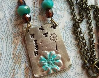 WISH Necklace>> #HandStamped #FlowerJewelry #Wish #GypsyCowgirl #BohoChic #Rustic #FreeSpirit #Bohemian #Hippie