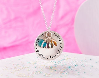 Personalised Family Necklace with Swarovski Birthstones - Hand Stamped - Sterling Silver - Mothers Necklace with Birthstones