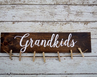 Grandkids sign picture holder, grandkids make life grand, grandparents picture frame, home decor, gift for grandparents, photo display