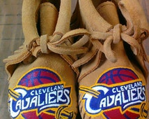 Custom Handpainted One of a Kind Cleveland Cavavilers Baby Moccasins