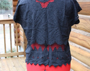 Vintage black lace and embroidered rayon top crop top 80's top Bohemian