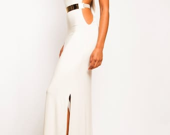 CHRISTINA White Cream Long Cutout Gold Belted Dual Side Slit Dress Raf Simons Michael Kors Giambattista Valli Tadashi Zuhair Murad JCREW