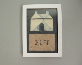 "Framed Quilt Piece with Embroidery ""Home"""