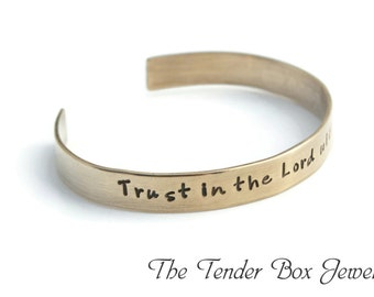 Personalized Nu Gold Cuff Trust in the Lord bracelet inspirational cuff quote bracelet name cuff word of the year bracelet