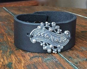 Wide Black Leather Cuff with Vintage Look Flower and Swirl Focal Piece