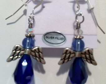 Angel Earrings, Cobalt Blue Glass Angels, Women's Earrings, Czech Glass Angels