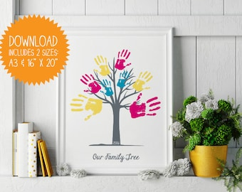 DIY Instant Download Printable Handprint Tree - 'Our Family Tree' / Mother's Day Gift / Father's Day Gift / Grandparent's Day Gift