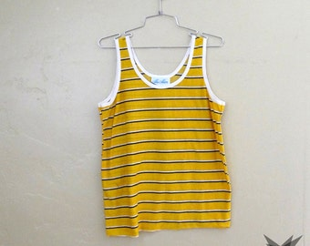 Vintage 1970's Ma Mere Yellow and Blue Striped Tank Top Size Medium/ Large