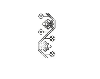 Machine Embroidery Design Instant Download - Blackwork Trim Flowers 2