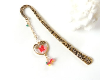 Flower Bookmark, Heart Bookmark, Butterfly Bookmark, Valentines Day Gift, Mothers Day Gift, Beaded Bookmark, Metal Bookmark