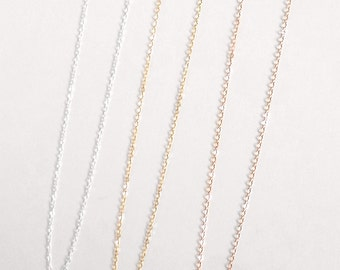 Simple Plain Chain Necklace, 14k Gold Filled, 14kt Rose Gold Filled, Sterling Silver, Thin Dainty Delicate Chain Necklace Everyday Layering