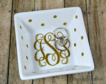 Monogram Initial Ring Dish / Monogrammed Jewelry Dish with Polka Dots