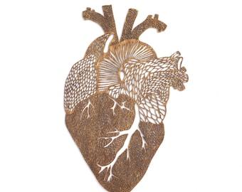 Anatomical Heart Lasercut Wooden Artwork