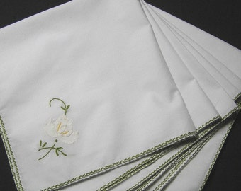Set of 6 Vintage Dinner Napkins with Hand Appliqued White on White Flower & Hand Embroidery, 15.5 x 15.25 Inches, Embroidered Edges, 1980s