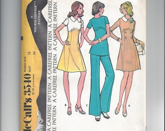 McCall's 3540 Pattern for Misses' Dress or Tunic, Pants, FACTORY Folded & UNCUT, From 1973, Sz 12, Pounds Thinner Pattern, Carefree Pattern
