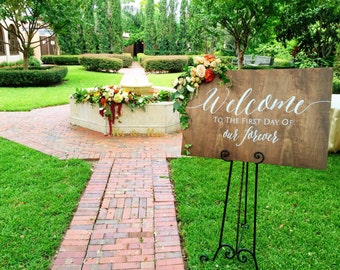 Rustic Wooden Wedding Welcome Sign • Welcome to the First Day of Our Forever • Wedding Welcome Sign  • Winter Wedding Sign