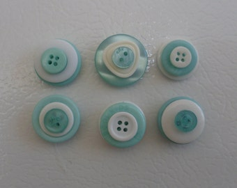 Light Green and White buttons Magnets