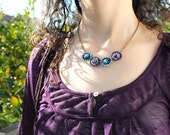 Macrame beaded geometric necklace purple turquoise