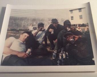 Pabst Blue Ribbon Vintage Polaroid Soliders Drinking PBR Beer Vietnam War 1969