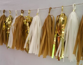 New Year's Eve Gold and White 20 Tassel Tissue Paper Garland, Gold Party Decorations, Tissue Tassels, Wedding Decorations, New Years Eve