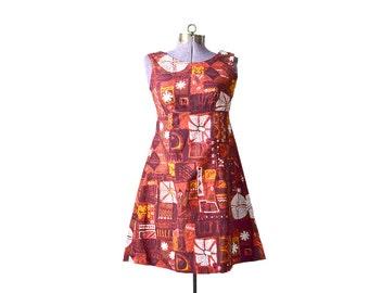 Hawaiian Dress Red Hawaiian Dress Tiki Print Dress 1960s Dress 60s Dress Mini Dress, Red Dress, Small Hawaiian Dress Short Hawiian Dress XS