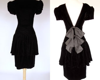 Black peplum dress | Etsy