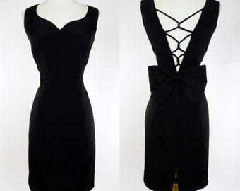 1990s black wiggle dress, lace up back with bow, sleeveless mini dress, Nightway, XL
