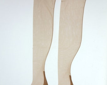 Vintage cuban heel back seamed stockings, Margy pretty as a picture, nylon dress sheer beige stockings, medium, size 9