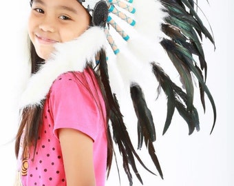 N31- From 5-8 years Kid / Child's: natural color feather Headdress 21 inch. – 53,34 cm.