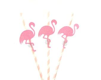 25 Pale Pink Stripe Paper Straws with Glitter Flamingo - Flamingo straws, tropical straws, wedding, engagement, birthday, tropical party