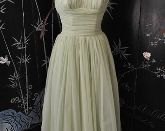 1950s Green Shelf Bust Halter Gown - Small