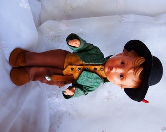 Vintage 1950s Wanderbub Little Wanderer Goebel, M. I. Hummel Doll, All Rubber